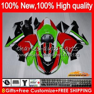 Corpo per Kawasaki ZX 10 R ZX1000 verde cornice rossa ZX10R 06 07 Carrozzeria 44HC.21 ZX1000 CC ZX10R 06 07 ZX 1000CC ZX 10R 2006 2007 carenatura kit