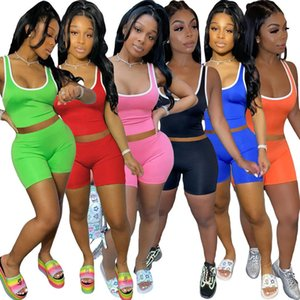 Womens Short Outfits Sleeveless 2 Piece Set Tracksuit Jogging Sportsuit Shirt Shorts Sweatshirt Pants Sport Suit 8869
