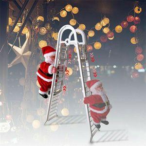 Ladder Climb Musica Babbo Natale elettrico appendere le decorazioni per alberi di Natale Capodanno per bambini regali di Natale di Natale Figurine JK1910