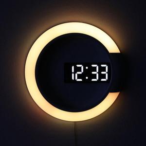 Tabla 3D Digital LED despertador del espejo de pared hueca del reloj del reloj del diseño moderno de luz nocturna para el hogar sala de estar Decoración