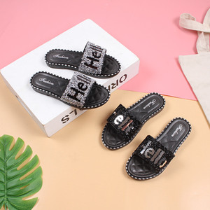 Cut-Out Rhinestone Sandals Summer Candy Slippers Woman Shoes Flats Ladies Flipflops Womens Zapatos Mujer Slip On Pearl Beach Sliders