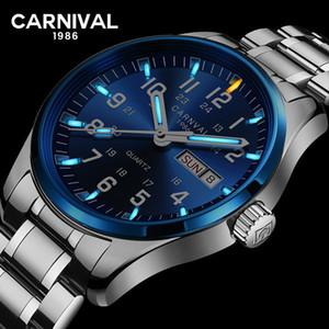 Carnevale Mens Wathes Tritium T25 luminoso doppio calendario quarzo della vigilanza degli uomini di lusso orologi impermeabili Relogio Masculino 2020 T200620