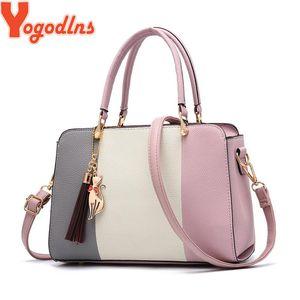 Yogodlns Brand Ladies Tassel Patchwork Totes Casual Fashion Flap Shopping Party Work Purse Makeup Crossbody Shoulder Handbag