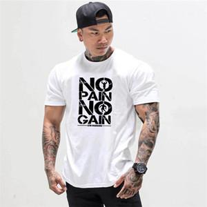 Muscleguys Summer Fashion elasticity Sporting T-shirt Uomo manica corta Fitness T Shirt Stampa uomo Palestre Bodybuilding Tshirt