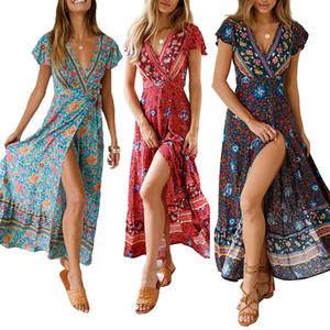 Femmes Longues Robes Maxi D'été Bohémienne Sexy Col En V À Manches Courtes Robe À Imprimé Floral Femme Plage Vintage Boho Robe