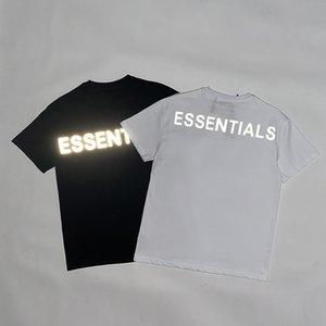 20ss hombre del diseñador de lujo diseñador de la camiseta del polo de 3M reflectantes de la calle ESSENTIALS alta calidad sudor de verano camisa par hip hop camiseta S-XL