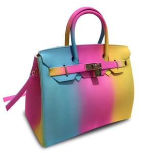Yeni Kadınlar omuz Çanta Kontrast renkli Çanta Kadınlar Çanta Moda bayanlar PVC Çanta totes ücretsiz gönderim