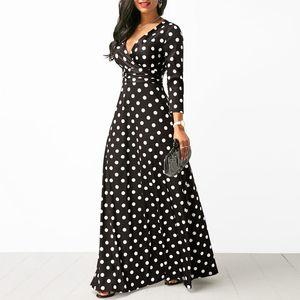 Femmes Polka Dot À Manches Longues Boho Dress Élégant Vintage Robes Femmes Soirée V Cou Maxi Longue Robe De Mode Robes De Dames