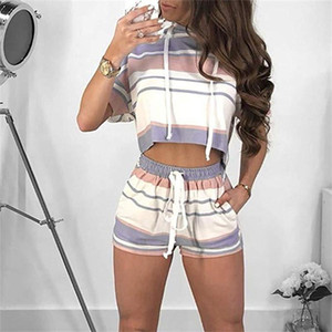 Fashion Womens Striped Sportswear Kit Crop T Shirt Tops Hoodies And Short Trouser 2 Pieces One Suit Tracksuit Summer Home Clothing 30ah E1