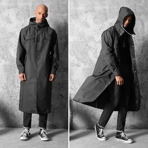 Espesar EVA adultos Impermeable para Hombres Mujeres Negro impermeable capa de lluvia de viajes Aire libre pesca que acampa de la ropa impermeable de gran tamaño