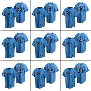 Baía de TampaIrradia # 12 Wade Boggs 34 personalizado Trevor Richards 8 Brandon Lowe Homens Mulheres Juventude Light Blue ReplicaMLB Alternate Jersey