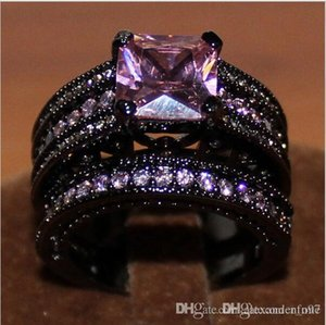 Nfn97 Nfn97 Women's Black Gold Plated Square Pink Sapphire Stone Cz Wedding Ring Set