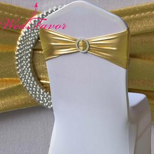 WedFavor de bronzante élastique Chaise extensible Bow or métallique Lycra avec Sash Chaise bandes boucle ronde pour le mariage