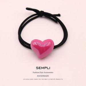 Sempli 7 конфета цвета смолы Love Heart нейлон высокой эластичность Rubber Band диапазон волосы Дети волосы заставка Аксессуары Scrunchie