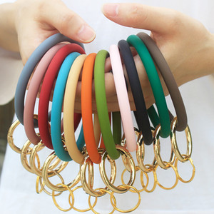 New Fashion Monogrammed Silicone Wristlet Keychain Bracelet Bangle Keyring Large Circle Bracelet Holder For Women Girls