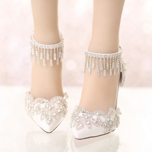 Crystal Wedding Shoes 2019 Bridal Shoes with rhinestones White Sheer Cheap Girl Casual Shoes with Buckle Strap High Heel