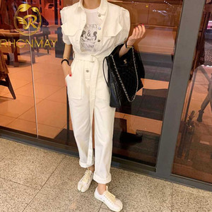 Sexy Denim Jumpsuit Women Romper Long Sleeve Belt Pink White Summer Jeans Jumpsuit Female 2020 Streetwear Overalls
