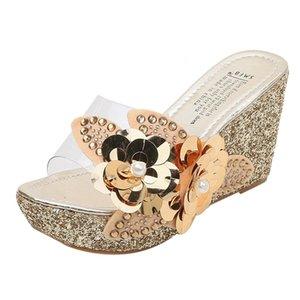 SAGACE 2019 дамы лето Rhinestone Блестки Цветы Transparent платформы Сандалии моды клинья Повседневная пляжная обувь LY191129