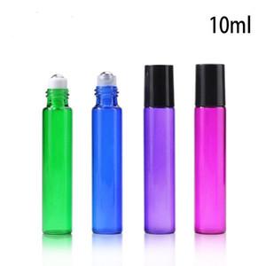 10 ml Rolo De Vidro Vazio Na Garrafa Azul Vermelho Verde Recipiente De Rolos 1/3 OZ para Óleo Essencial, aromaterapia, perfumes e Lip Balm LX5814