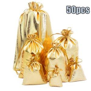 50pcs bag 7x9cm 9x12cm 10x15cm Adjustable Jewelry Packing silver  gold colors drawstring Velvet bag,Wedding Gift Bags & Pouches