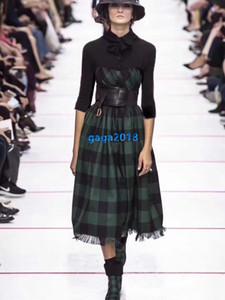 altas mujeres end girls midi cheque de la vendimia camisa de vestir mosaico cinturón carta a cuadros de manga larga de una línea de vestidos midi vestidos de diseño de moda de la pista