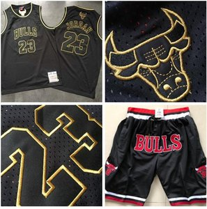 Men's Basketball ChicagoBulls23 MichaelJD Mitchell & Ness Black And Gold Special 1997-98 Swingman Jersey And Pant
