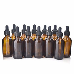 12PCS 60ml의 앰버 유리 눈 스포이드 병 에센셜 오일 실험실 화학 화장품 용기에 갈색 유리 피펫 병 비우기