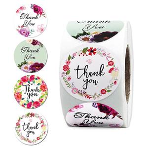 500pcs / roll Floral Merci autocollant pour Seal Étiquette scrapbooking Noël Sticke Décoration Sticker Papeterie