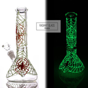 Glow in the Dark Bongs Luminous Glass Beaker Bong Spider Water Pipe Dab Rig Glowing Glass Water Bong Oil Rigs