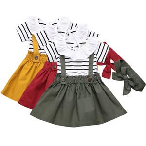 Abbigliamento per bambini Set infantili della neonata ha increspato la banda del collare del pagliaccetto + Suspender Skirt + le fasce 3pcs / set Ragazze Outfits M1688