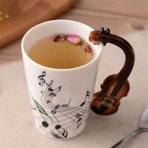 Cerámica creativa taza Música Violín estilo de guitarra de leche taza del té del bastón tazas con los regalos de la novedad de la manija Preferido