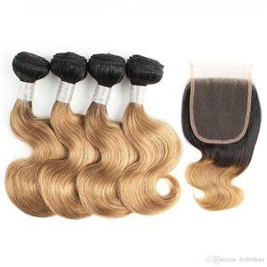 1B27 Ombre bionda dei capelli Bundle con chiusura Corpo onda brasiliana 50g Bundle 10 12 pollici caschetto corto dei capelli umani di Remy di estensioni dei capelli