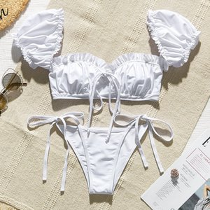 In-X Solid white ruffle swimsuit female Bandeau bikini 2020 Short sleeve swimwear women Tie side bathing suit High cut Biquini CX200608