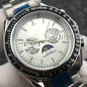 팔찌 최고 명품 속도 달 기계 남성 디자이너 스테인레스 스틸 오토매틱 무브먼트 시계 스포츠 셀프 바람 손목 시계 시계