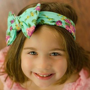 14colors Kids Baby Big Bow Belt Children Printing Flower Headbands Bohemian Head Wrap Girls Children Hair Accessories RRA3228
