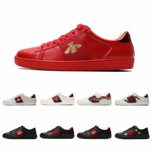 최고 품질 남성 여성 캐주얼 신발 패션 스니커즈 레이스 업 신발 녹색 빨간색 스트라이프 블랙 가죽 꿀벌 수 놓은 상자