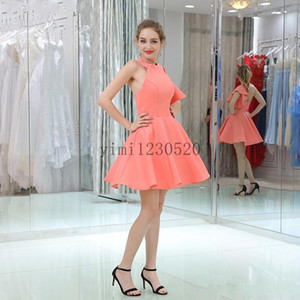 Coral Short Cocktail Party Dresses O Neck Backless Ruffles A Line Mini Formal Prom Gowns for Sweet 16 Homecoming Dress Plus Size