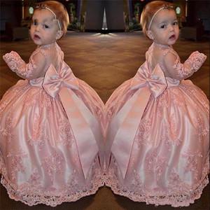 Güzel Pembe Çiçek Kız Elbise Düğün Abiye Dantel Aplikler Kat Uzunluk Küçük Kızlar ilk komünyonu Yarışması törenlerinde için