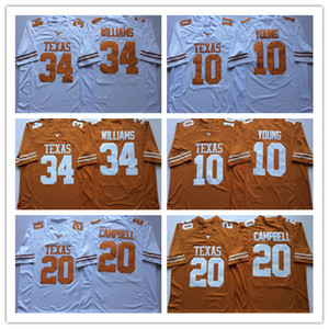 2019 Texas Longhorns Vince Young College-Trikots 20 Earl Campbell 34 Ricky Williams Genähte NCAA-Universitäts-Trikots Weiß