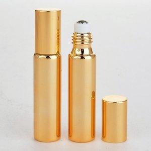 5ML 10ML المعدنية الرول زجاجة عطر الذهب الفضة اللون الأسود الزيوت العطرية كريم العين لفة على زجاجة زجاج HHA833