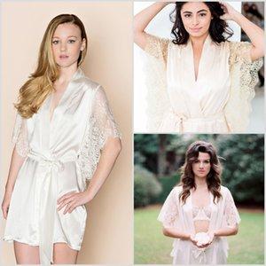 Whole Comprimento Lace manga curta Charmeuse Pijamas V Neck Mulheres Robe Sexy Xaile Banho Pijamas 2020 New Prom dama lar Roupa