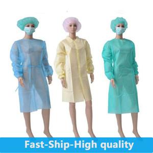 En la acción! El más nuevo aislamiento del vestido de Protección de protección desechables ropa a prueba de polvo de la bata para las mujeres de los hombres impermeable anti-niebla anti-partículas