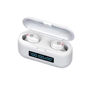 F9-38 سماعات بلوتوث 5.0 TWS ماء HD ستيريو سماعات الأذن اللاسلكية الضوضاء الغاء عرض الألعاب سماعة LED الطاقة