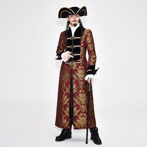 Chaqueta Larga Tire bordado de la capa de los hombres de Steampunk de la vendimia del traje masculino ropa de la cremallera con hebilla de metal