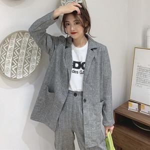 New 2020 Spring Vintage Elegant Women Plaid Blazers Suits Casual Jacket + High Waist Wide Leg Cropped Pants Female Two Piece Set