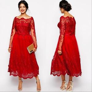 Vintage Red Mother off vestidos de novia 2019 Bateau cuello apliques de encaje mangas largas más el tamaño de madre de los vestidos de novia vestido de boda de invitados