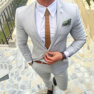 New Light Gray Mens Suits Slim Fit Casual Business Wedding Tuxedos Groom Wear Bridegroom Prom Blazer Costume Homme 2 Pieces (Jacket+Pants) 7