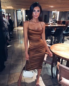 Neon Satin Lace Up Women Long Midi Dress Bodycon Backless Elegant Party Sexy Club Clothes 2020 Summer Dinner Outfit