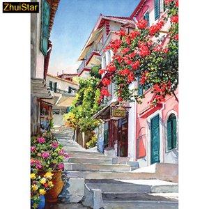 "5D Diy diamond painting cross stitch ""Town Stairs Steps"" полная квадратная Алмазная вышивка рукоделие горный хрусталь мозаика ремесла"