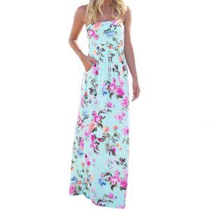 Женские платья женщин Одежда Bohemian печати Цветочные платья без бретелек Sexy Summer Beach Maxi Long Femme Mujer Sundress Gv725 Дизайнер одежды